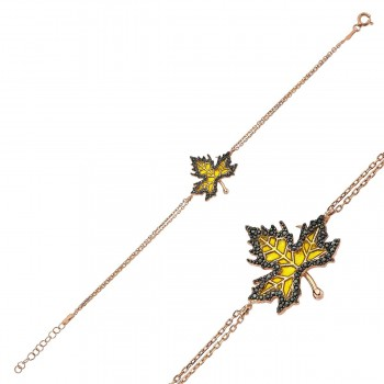 Çınar Yaprağı Rose Gümüş Bayan Bileklik MYB0107