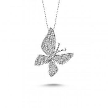 Çoktaşlı Gümüş Kelebek Kolye MYK00101