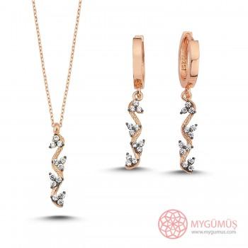 Deniz Atı Tasarım Halka Gümüş Kolye Küpe Set MY101626