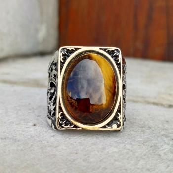 Doğal Kaplan Gözü Erkek Gümüş Yüzük MY101828