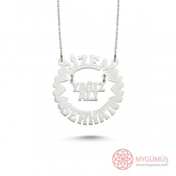 Kalp Motifli İsme Özel Gümüş Kolye MYK001026