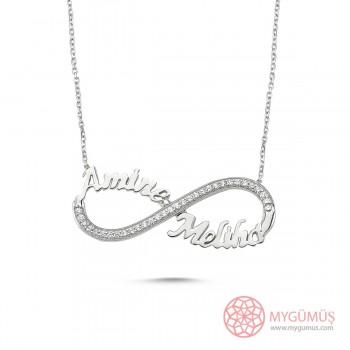 El Emeği Taşlı Sosuzluk İki İsimli Gümüş Kolye MYK001018