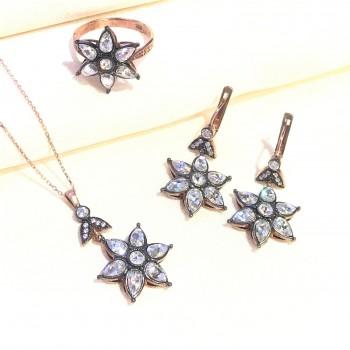 Elmas Efektli Yıldız Gümüş Set MY102404