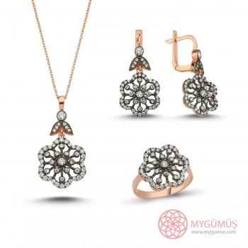 Elmas Montür Çiçek Gümüş Set MY100034