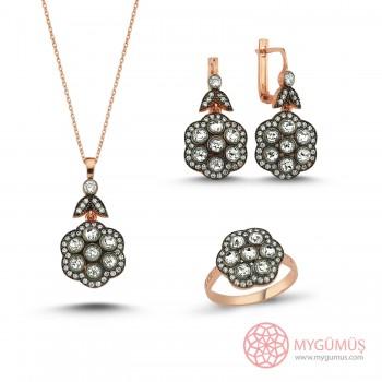 Elmas Montür Gümüş Set MY102103