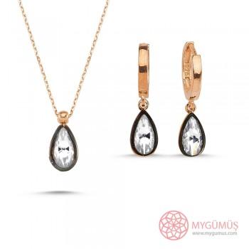 Elmas Montürlü Gümüş Kolye Küpe 2'li Miniset MY100132