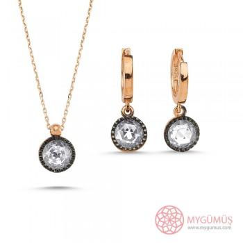 Elmas Montürlü Gümüş Kolye Küpe Miniset MY100133