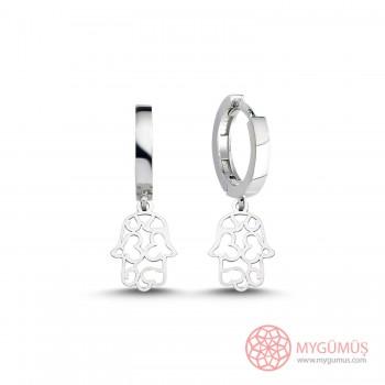 Fatıma'nın Eli Kalpli Gümüş Küpe MY101484