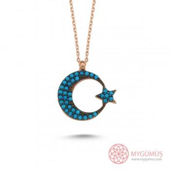 Firuze Taşlı Ay Yıldız Gümüş Kolye MY1011036