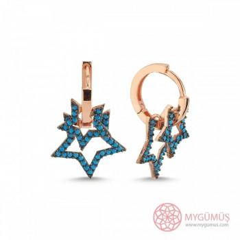 Firuze Taşlı Yıldızlar Halka Gümüş Küpe MY102331