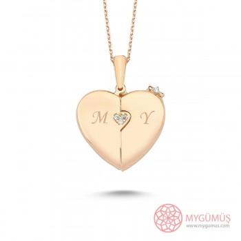 İsme Özel Fiyonklu Kalp Gümüş Kolye MY101445