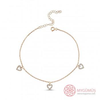 Üçlü Kalp Motifli Gümüş Halhal MYH00102