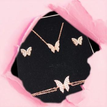 Gümüş Kelebek Kolye Bileklik Küpe Set MY102312