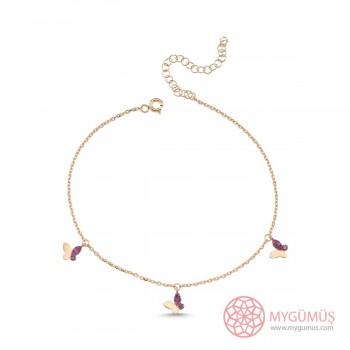 Mercan Taşlı Kelebek Gümüş Halhal MYH00104