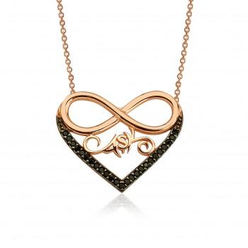 Safir Taşlı Aşk Sonsuzluk Kalp Kolye MY100076