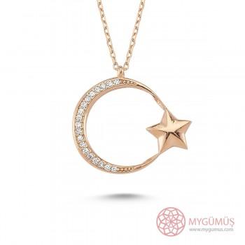 İnce Tasarım Ay Yıldız Gümüş Kolye MY101144