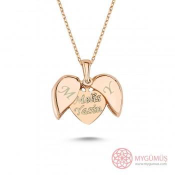 İsim Yazılabilen Gümüş Kalp Kolye MY100128