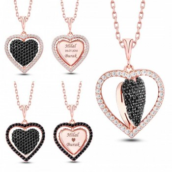 İsme Özel Dört Yönlü Kalp Gümüş Kolye MY101343