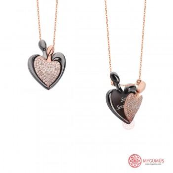 İsme Özel Kalp Amare Gümüş Kolye MY101652