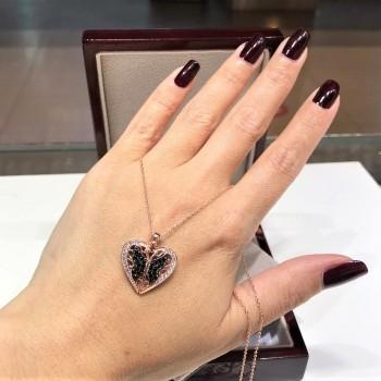 İsme Özel Kalp Kelebek Gümüş Kolye MY102274