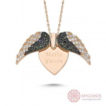 İsme Özel Kanatlı Kalp Gümüş Kolye MY03010144