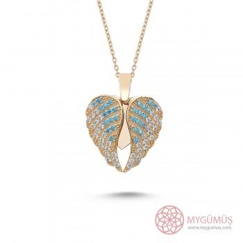 İsme Özel Kanatlı Gümüş Kalp Kolye MY101246