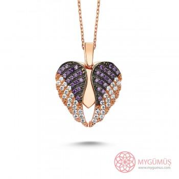 İsme Özel Kanatlı Gümüş Kalp Kolye MY101297