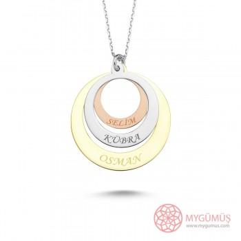 İsme Özel Renkli Halkalar Gümüş Kolye MY101665