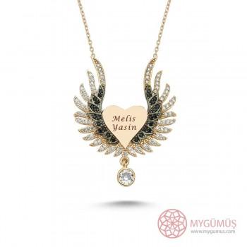 İsme Özel Sihirli Kanatlar Gümüş Kolye MY101257