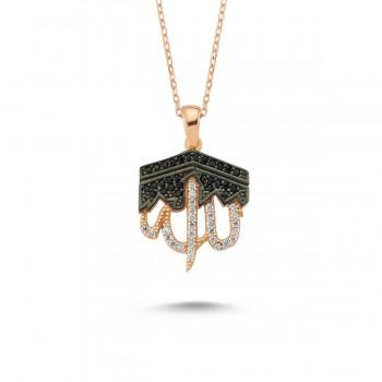 Kabe Motifli Allah Yazılı Gümüş Kolye MY101353