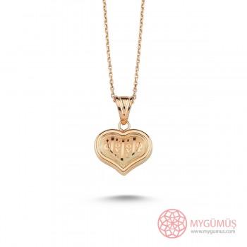 Love Yazılı Kalp Gümüş Kolye MY101409