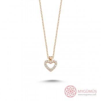 Zirkon Taşlı Kalp Gümüş Kolye MY101402