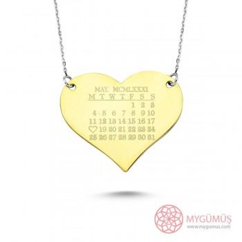 Kalp Üzerinde Tarih Temalı Gümüş Kolye MY101298