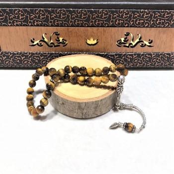 Kaplan Gözü Doğal Taşlı Gümüş Tesbih MY102123