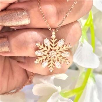 Kar Tanesi Damla Taşlı Rose Gümüş Kolye MY102420