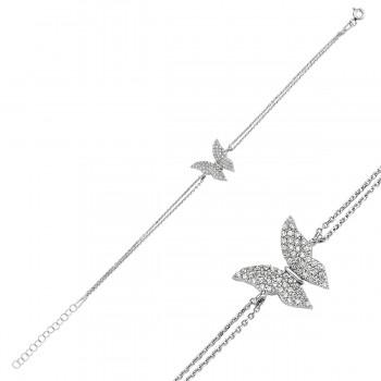 Kelebek Figürlü Gümüş Bileklik MY100065