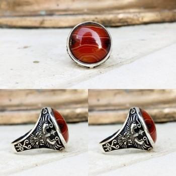 Kırmızı Kaplan Gözü Taşlı Erkek Gümüş Yüzük MY101803
