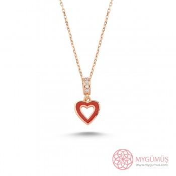 Kırmızı Mineli Kalp Gümüş Kolye MY101692