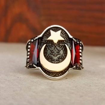 Kırmızı Taşlı Ay Yıldız Erkek Gümüş Yüzük MY101993