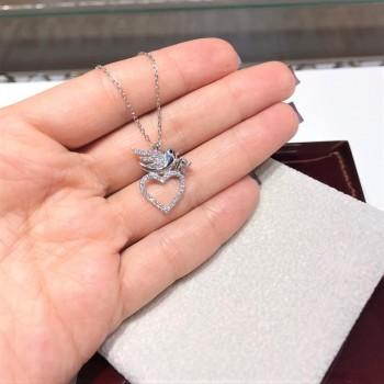 Kuş Kalpli Tektaş Gümüş Kolye MY102261