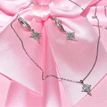 Kutup Yıldızı Kolye Küpe Gümüş Set MY102106