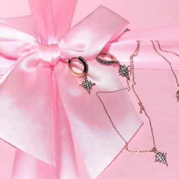 Kutup Yıldızı Rose Kolye Küpe Gümüş Set MY102107