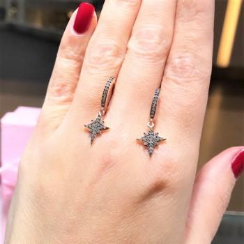 Kutup Yıldızı Rose Sallantılı Gümüş Küpe MY102109
