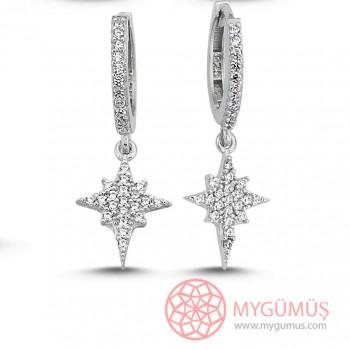 Kutup Yıldızı Sallantılı Gümüş Küpe MY102108