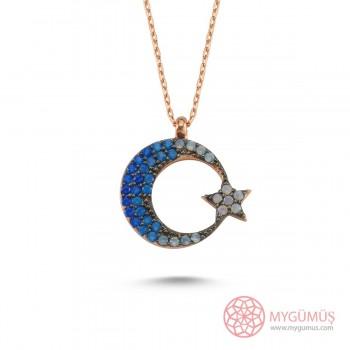 Mavi Ay Yıldız Gümüş Kolye MY111052