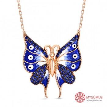 Mavi Rengi Taşlı Mineli Gümüş Kelebek Kolye MY0201016M