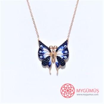 Mineli Kelebek Gümüş Kolye MY02010160