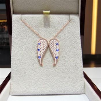 Mineli Mavi Kanat Figürlü Gümüş Kolye MY101714