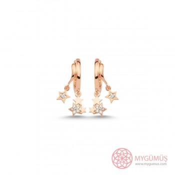 Mini Yıldızlar Halka Gümüş Küpe MYG110