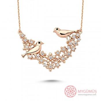 Muhabbet Kuşları Gümüş Kolye MY101679